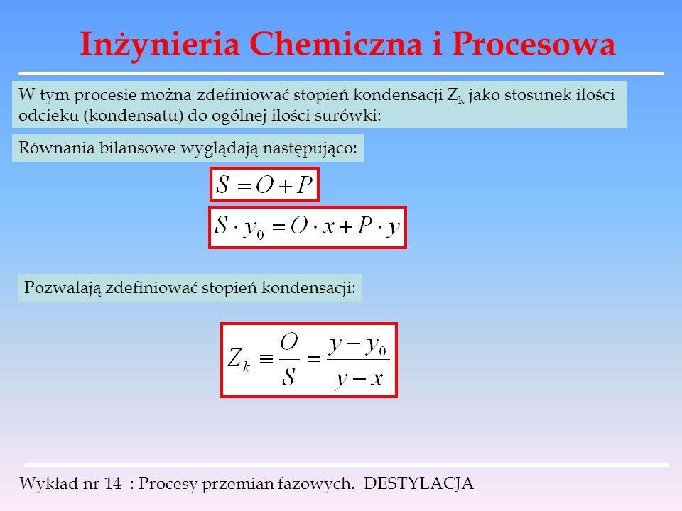 Inżynieria Chemiczna i Procesowa Wykład nr 14 : Procesy przemian fazowych. DESTYLACJA W tym procesie można zdefiniować stopień kondensacji Z k jako st