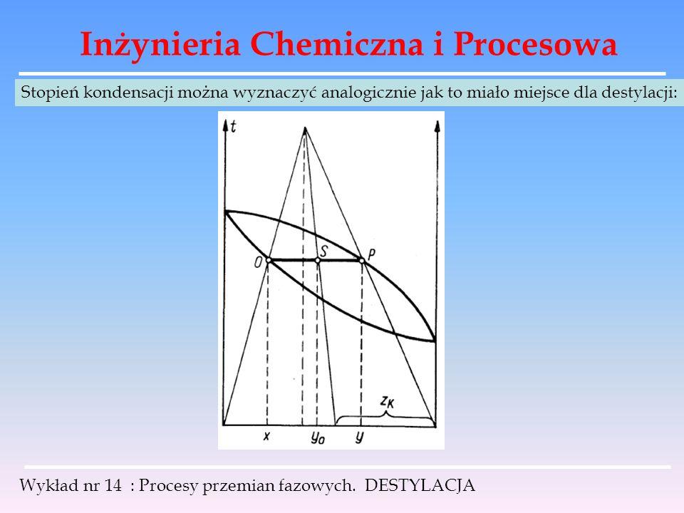 Inżynieria Chemiczna i Procesowa Wykład nr 14 : Procesy przemian fazowych. DESTYLACJA Stopień kondensacji można wyznaczyć analogicznie jak to miało mi