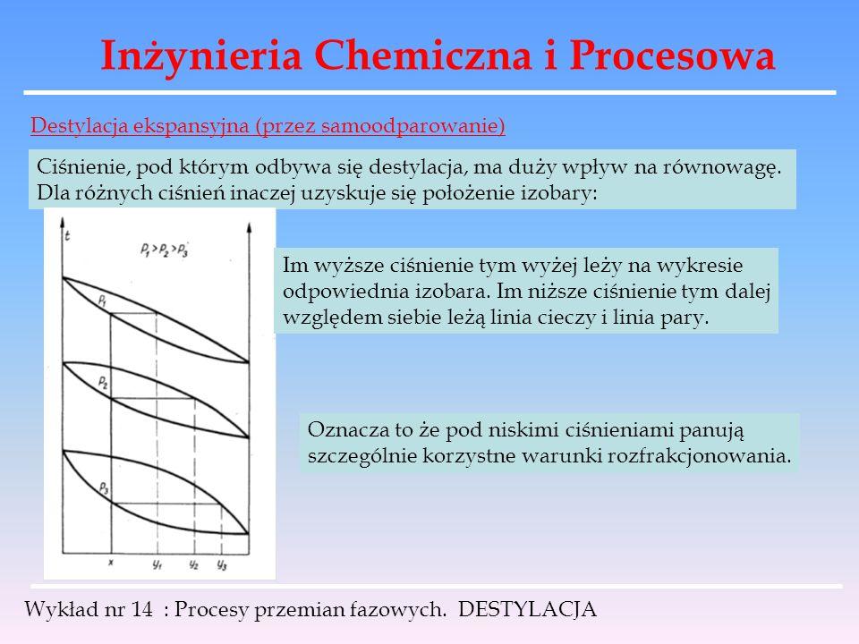 Inżynieria Chemiczna i Procesowa Wykład nr 14 : Procesy przemian fazowych. DESTYLACJA Destylacja ekspansyjna (przez samoodparowanie) Ciśnienie, pod kt