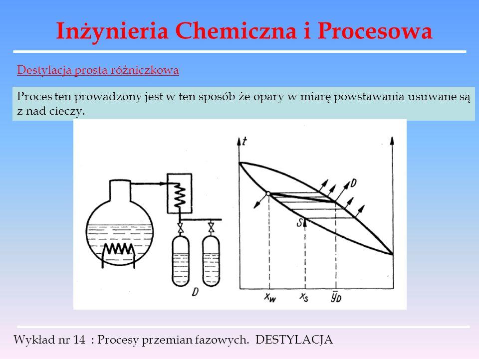 Inżynieria Chemiczna i Procesowa Wykład nr 14 : Procesy przemian fazowych. DESTYLACJA Destylacja prosta różniczkowa Proces ten prowadzony jest w ten s