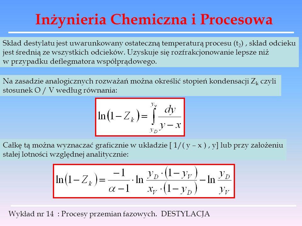 Inżynieria Chemiczna i Procesowa Wykład nr 14 : Procesy przemian fazowych. DESTYLACJA Skład destylatu jest uwarunkowany ostateczną temperaturą procesu