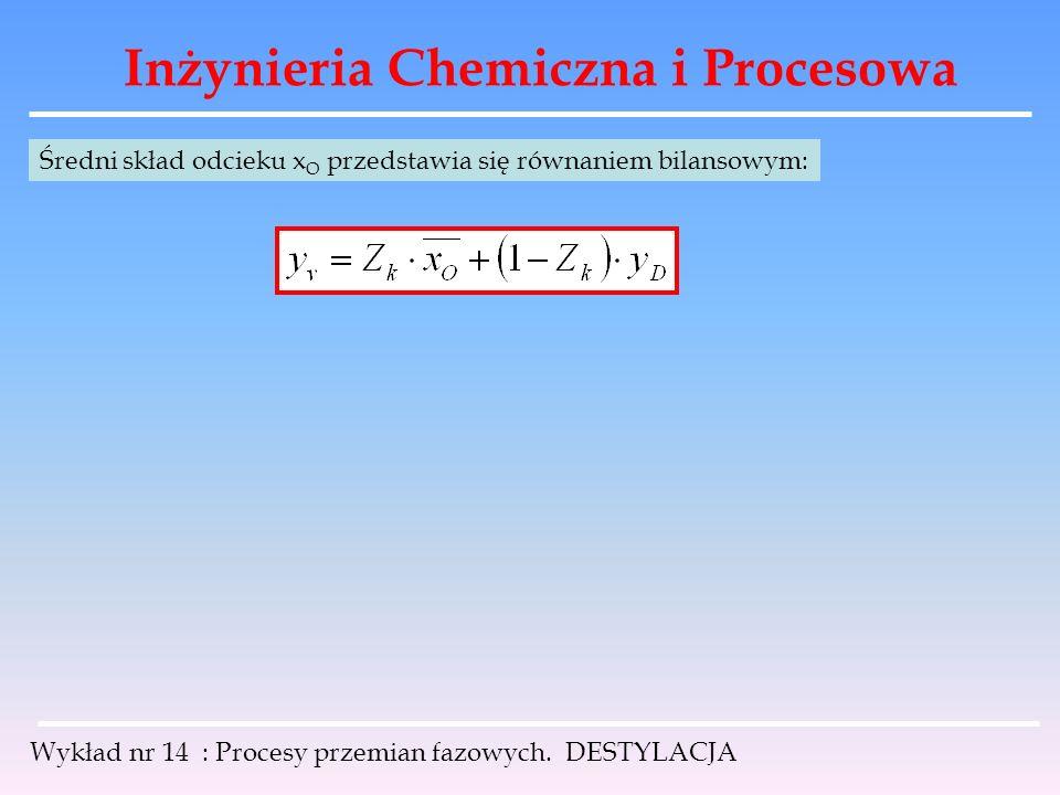 Inżynieria Chemiczna i Procesowa Wykład nr 14 : Procesy przemian fazowych. DESTYLACJA Średni skład odcieku x O przedstawia się równaniem bilansowym: