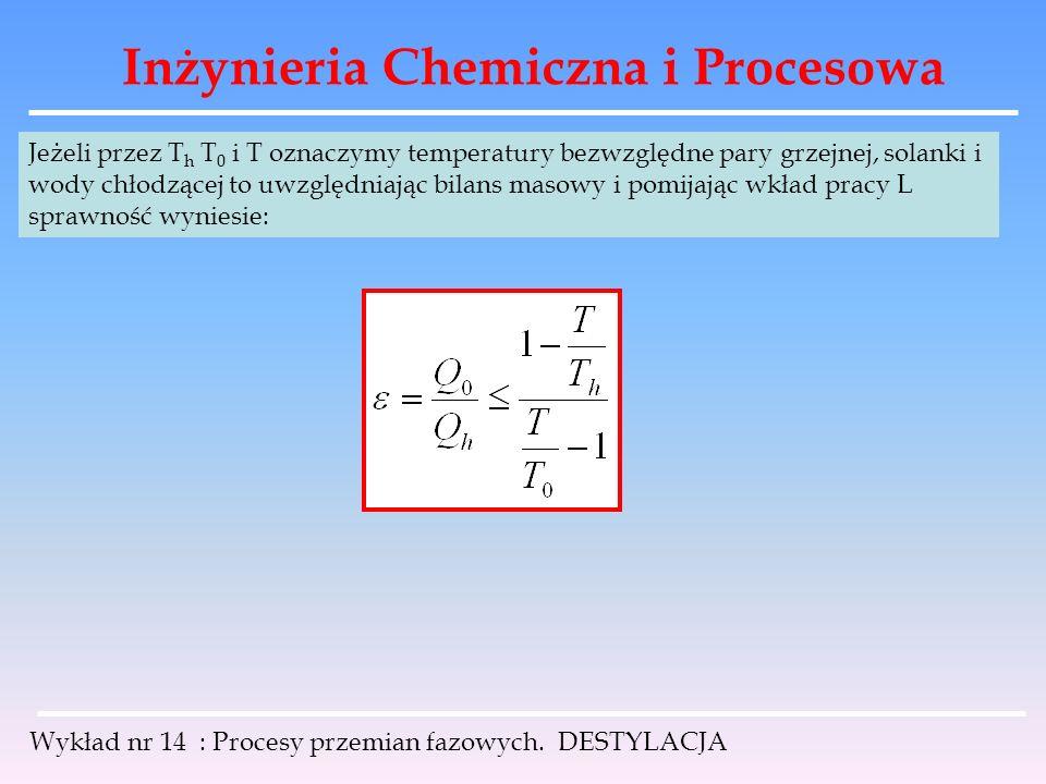 Inżynieria Chemiczna i Procesowa Wykład nr 14 : Procesy przemian fazowych. DESTYLACJA Jeżeli przez T h T 0 i T oznaczymy temperatury bezwzględne pary