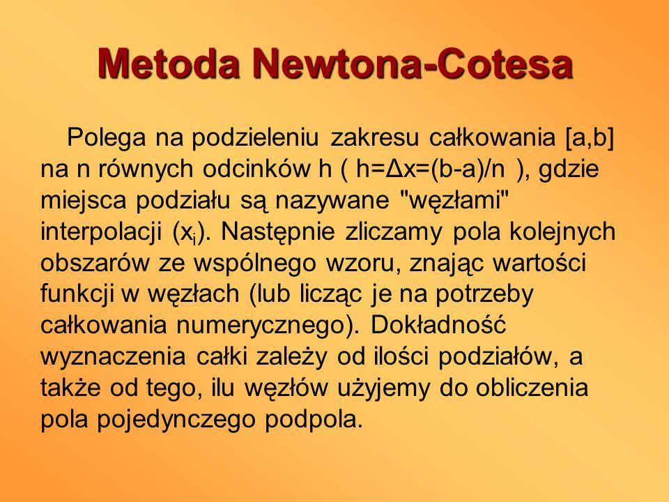 Metoda Newtona-Cotesa Polega na podzieleniu zakresu całkowania [a,b] na n równych odcinków h ( h=Δx=(b-a)/n ), gdzie miejsca podziału są nazywane