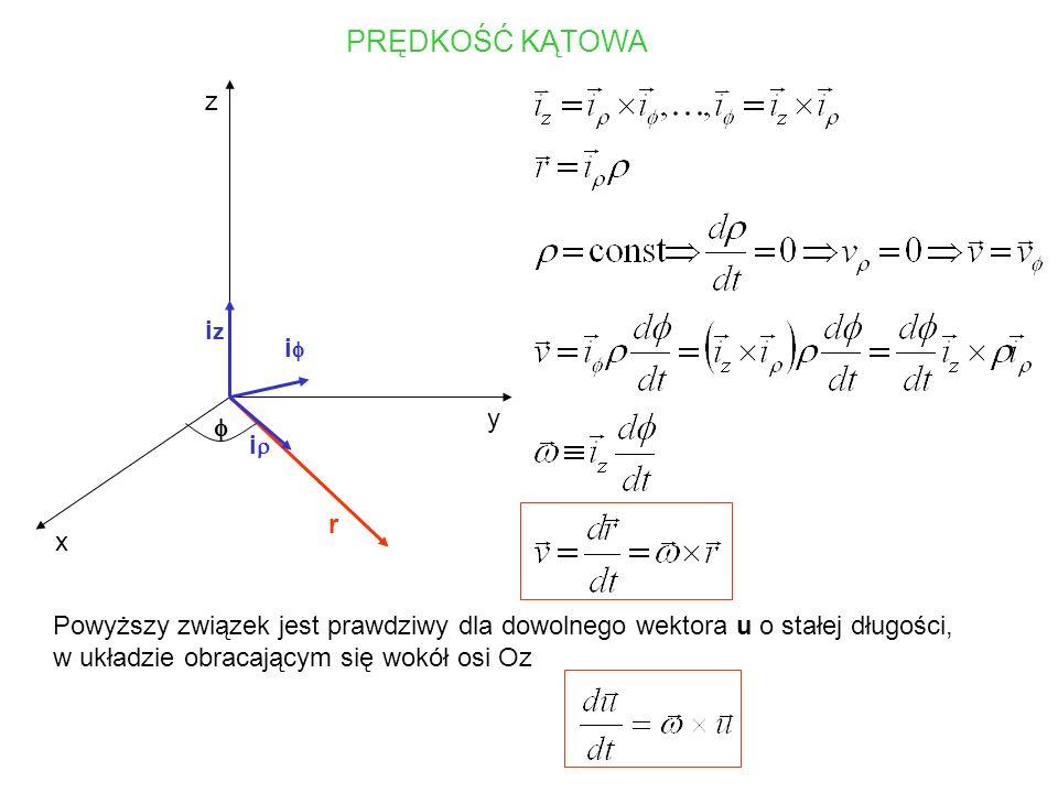 TRANSFORMACJE PRĘDKOŚCI I PRZYSPIESZENIA i j i j x y x y r r r0r0 prędkość zmierzona w układzie Oxy prędkość zmierzona w układzie Oxy przyspieszenie zmierzone w układzie Oxy przyspieszenie zmierzone w układzie Oxy