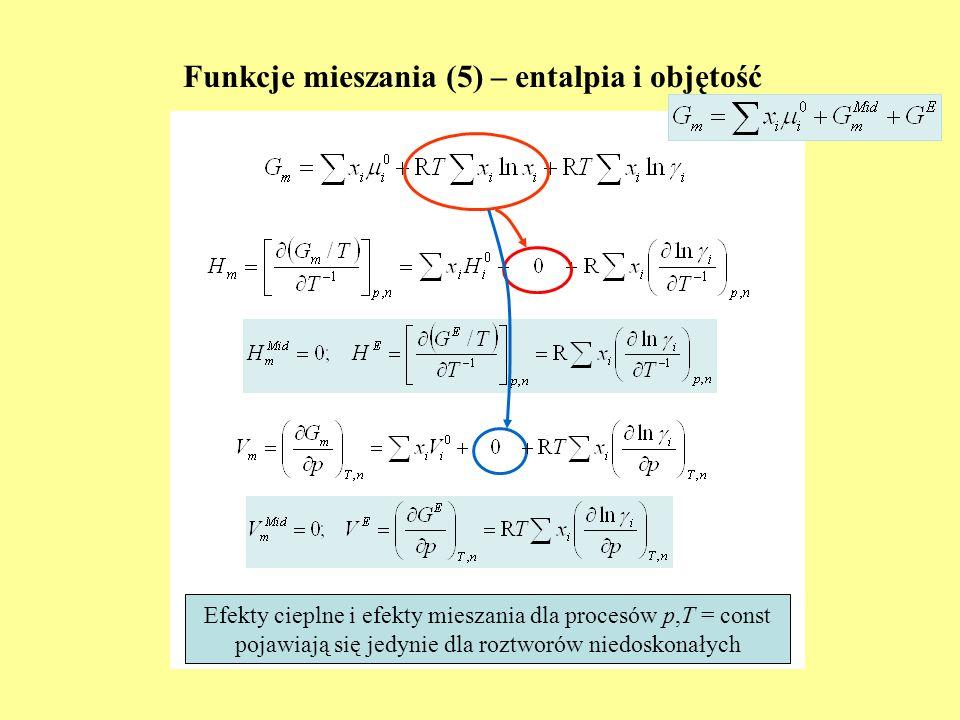 Funkcje mieszania (5) – entalpia i objętość Efekty cieplne i efekty mieszania dla procesów p,T = const pojawiają się jedynie dla roztworów niedoskonał