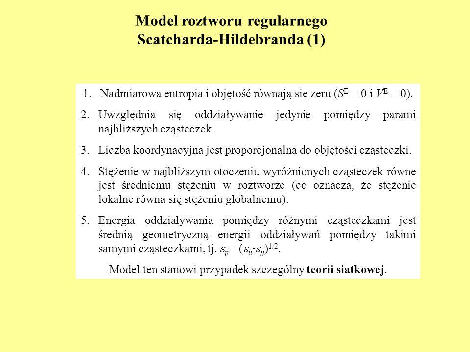 Model roztworu regularnego Scatcharda-Hildebranda (1) 1.Nadmiarowa entropia i objętość równają się zeru (S E = 0 i V E = 0). 2.Uwzględnia się oddziały