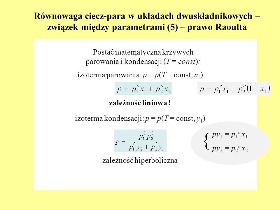 Równowaga ciecz-para w układach dwuskładnikowych – związek między parametrami (5) – prawo Raoulta Postać matematyczna krzywych parowania i kondensacji