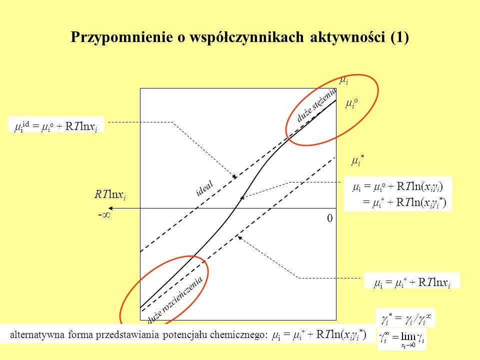 Przypomnienie o współczynnikach aktywności (1) RTlnx i μiμi 0 - μ i id = μ i o + RTlnx i ideal μioμio duże stężenia duże rozcieńczenia μ i = μ i * + R