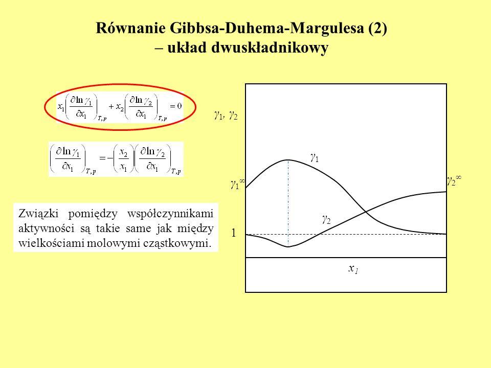 Równowaga ciecz-para w układach dwuskładnikowych – prawa graniczne (1) formy graniczne nadmiar składnika 1 nadmiar składnika 2 i * = i / i i = i * i = γ 1 = γ 2 k i = p i o i - stała Henryego prawo Raoulta prawo Henryego p = p 1 o x 1 1 + p 2 o x 2 2 p = p 1 + p 2 p = p 1 o x 1 1 + p 2 o x 2 2 2 * p = p 1 o x 1 1 1 * + p 2 o x 2 2 p p 1 o x 1 + k 2 x 2 p k 1 x 1 + p 2 o x 2