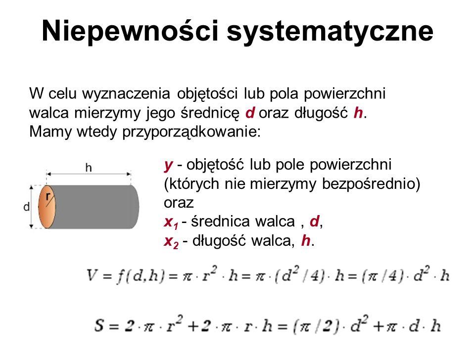 Niepewności systematyczne W celu wyznaczenia objętości lub pola powierzchni walca mierzymy jego średnicę d oraz długość h. Mamy wtedy przyporządkowani