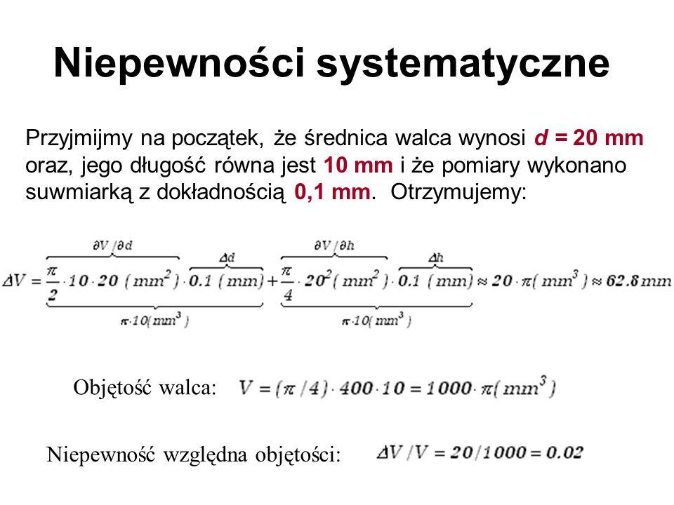 Przyjmijmy na początek, że średnica walca wynosi d = 20 mm oraz, jego długość równa jest 10 mm i że pomiary wykonano suwmiarką z dokładnością 0,1 mm.
