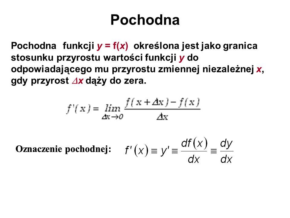 Pochodna Pochodna funkcji y = f(x) określona jest jako granica stosunku przyrostu wartości funkcji y do odpowiadającego mu przyrostu zmiennej niezależ
