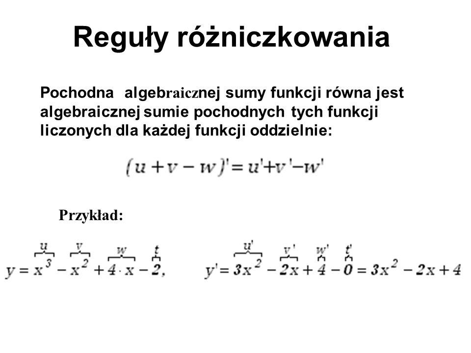 Reguły różniczkowania Pochodna algeb raicz nej sumy funkcji równa jest algebraicznej sumie pochodnych tych funkcji liczonych dla każdej funkcji oddzie