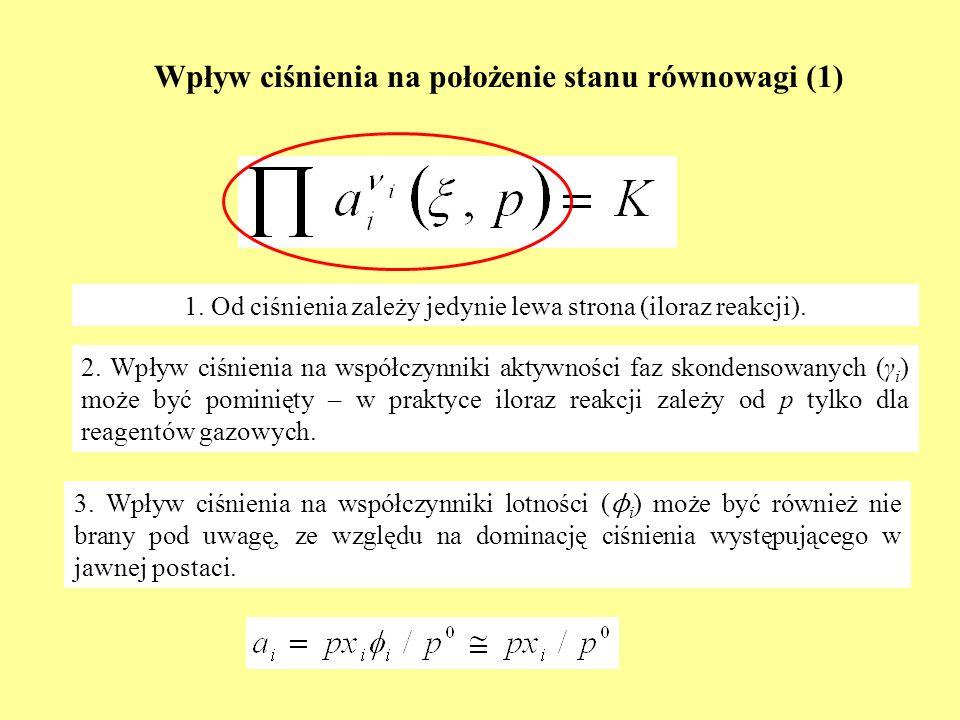 Wpływ ciśnienia na położenie stanu równowagi (1) 1. Od ciśnienia zależy jedynie lewa strona (iloraz reakcji). 2. Wpływ ciśnienia na współczynniki akty