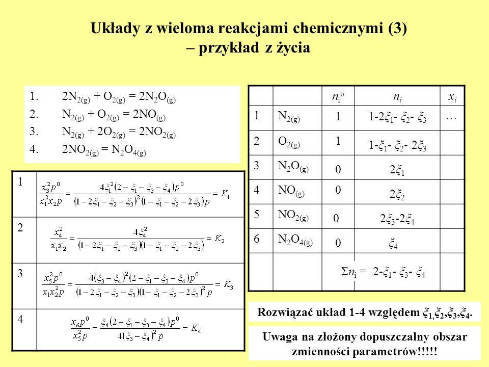 Układy z wieloma reakcjami chemicznymi (3) – przykład z życia 1.2N 2(g) + O 2(g) = 2N 2 O (g) 2.N 2(g) + O 2(g) = 2NO (g) 3.N 2(g) + 2O 2(g) = 2NO 2(g