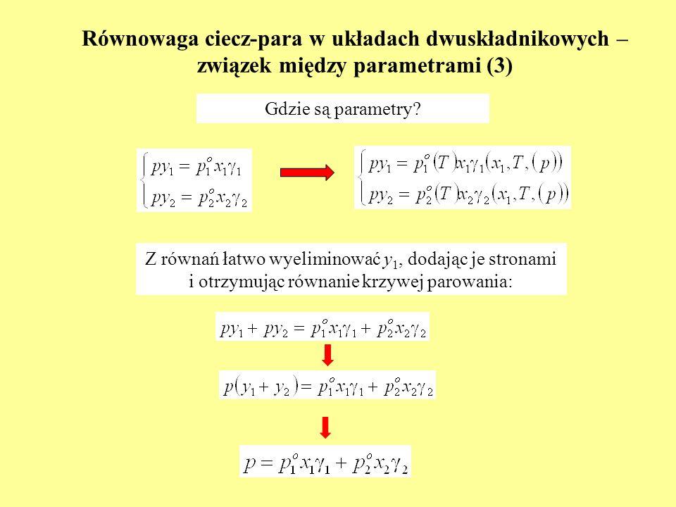 Równowaga ciecz-para w układach dwuskładnikowych – związek między parametrami (3) Z równań łatwo wyeliminować y 1, dodając je stronami i otrzymując ró