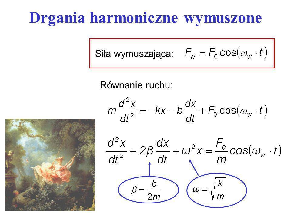 Drgania harmoniczne wymuszone Równanie ruchu: Siła wymuszająca: