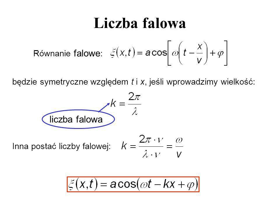 Liczba falowa Równanie falowe : będzie symetryczne względem t i x, jeśli wprowadzimy wielkość: liczba falowa Inna postać liczby falowej: