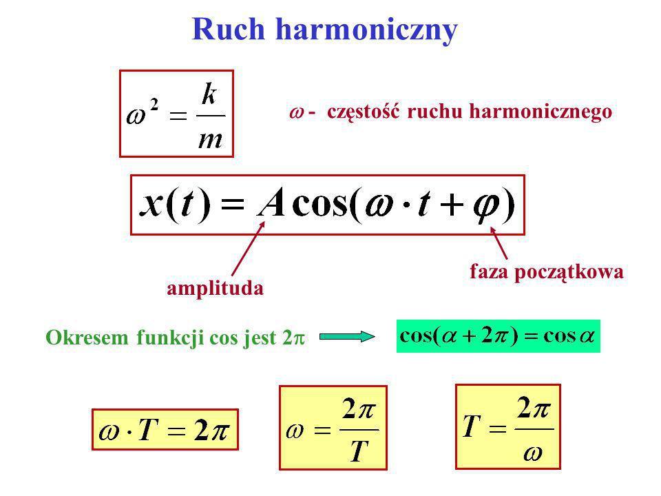 Ruch harmoniczny - częstotliwość ruchu Jednostka: Hz [s -1 ] Jeśli faza początkowa: