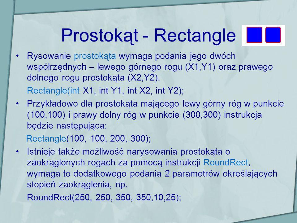 Prostokąt - Rectangle Rysowanie prostokąta wymaga podania jego dwóch współrzędnych – lewego górnego rogu (X1,Y1) oraz prawego dolnego rogu prostokąta