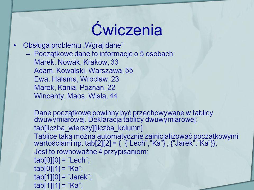 Ćwiczenia Obsługa problemu Wgraj dane –Początkowe dane to informacje o 5 osobach: Marek, Nowak, Krakow, 33 Adam, Kowalski, Warszawa, 55 Ewa, Halama, W