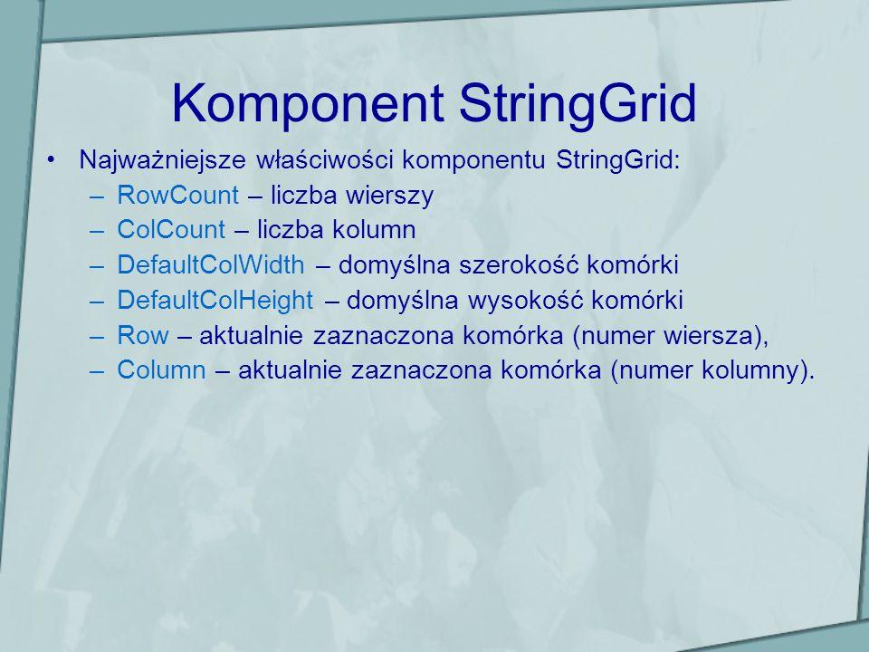Komponent StringGrid Najważniejsze właściwości komponentu StringGrid: –RowCount – liczba wierszy –ColCount – liczba kolumn –DefaultColWidth – domyślna