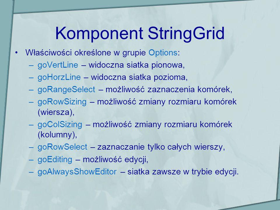 Komponent StringGrid Właściwości określone w grupie Options: –goVertLine – widoczna siatka pionowa, –goHorzLine – widoczna siatka pozioma, –goRangeSel
