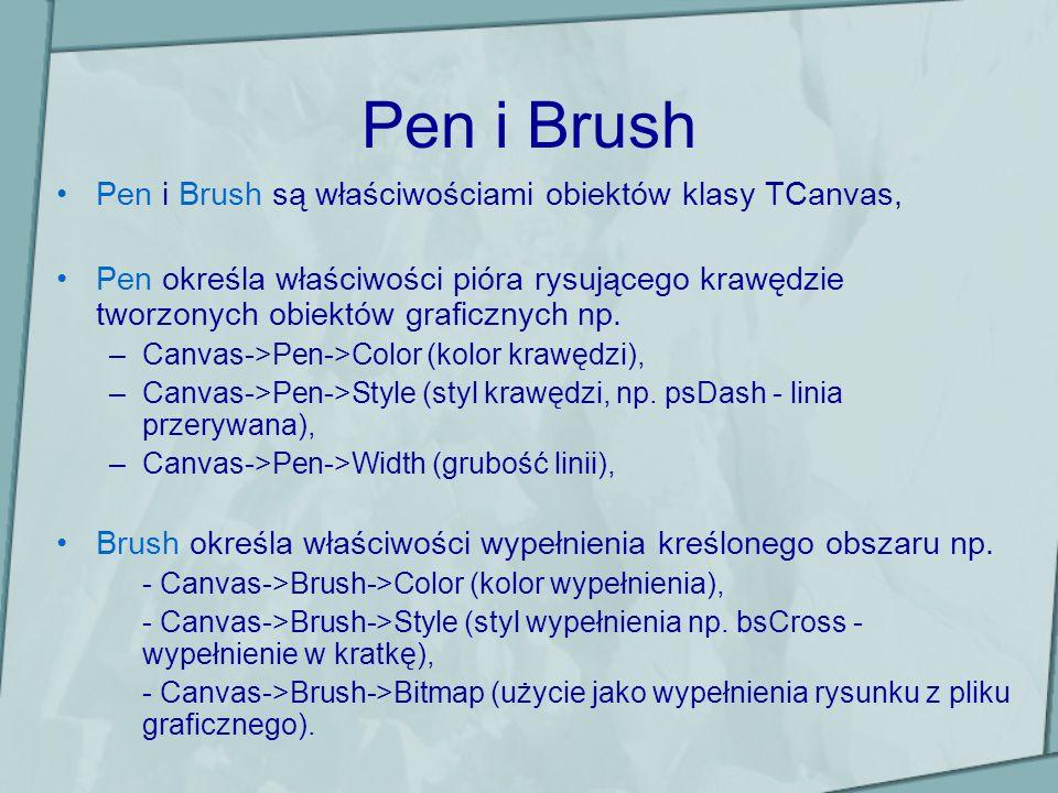 Pen i Brush Pen i Brush są właściwościami obiektów klasy TCanvas, Pen określa właściwości pióra rysującego krawędzie tworzonych obiektów graficznych n