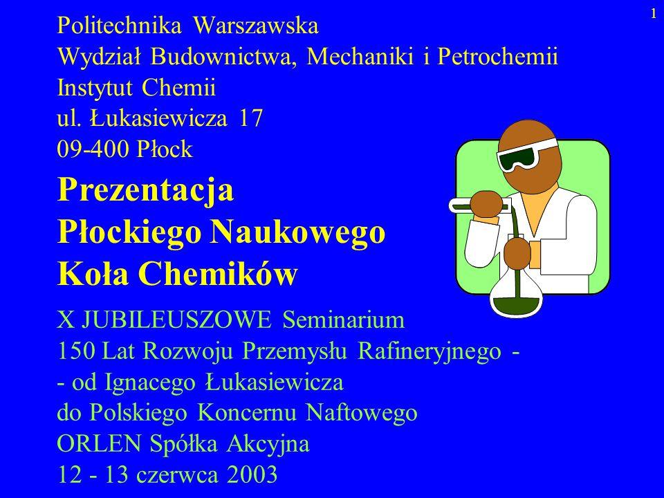 1 Politechnika Warszawska Wydział Budownictwa, Mechaniki i Petrochemii Instytut Chemii ul. Łukasiewicza 17 09-400 Płock Prezentacja Płockiego Naukoweg
