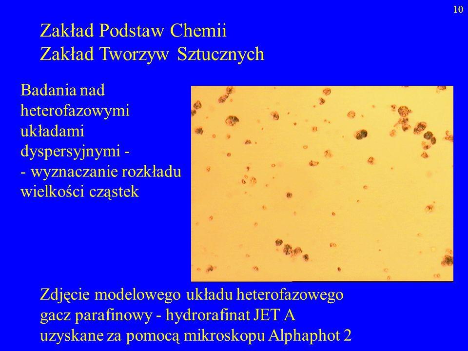 10 Zakład Podstaw Chemii Zakład Tworzyw Sztucznych Zdjęcie modelowego układu heterofazowego gacz parafinowy - hydrorafinat JET A uzyskane za pomocą mi
