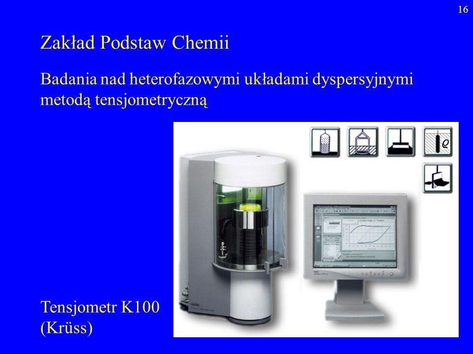 16 Zakład Podstaw Chemii Badania nad heterofazowymi układami dyspersyjnymi metodą tensjometryczną Tensjometr K100 (Krüss)