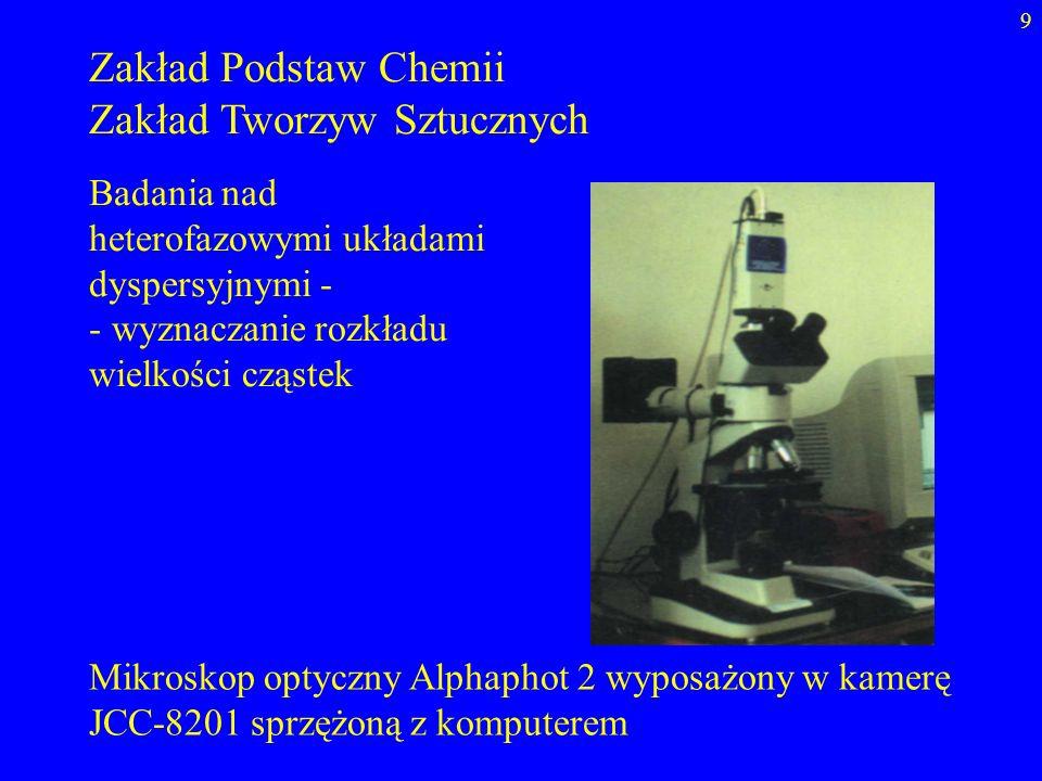 9 Zakład Podstaw Chemii Zakład Tworzyw Sztucznych Badania nad heterofazowymi układami dyspersyjnymi - - wyznaczanie rozkładu wielkości cząstek Mikrosk