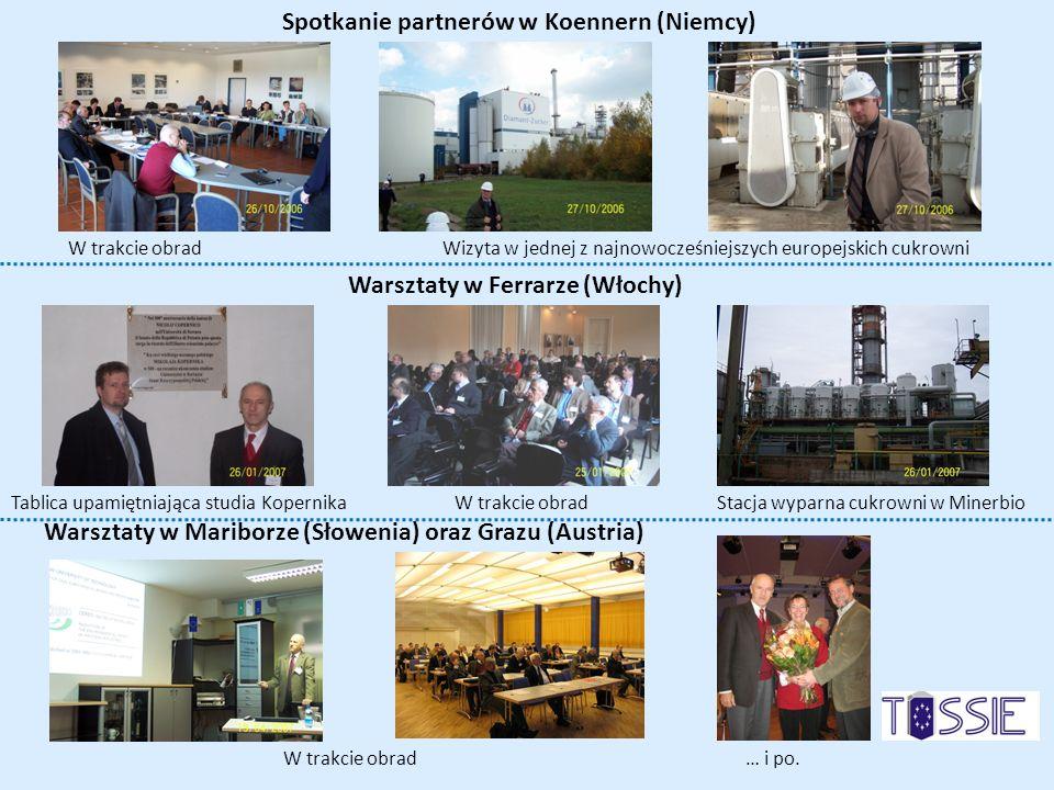 Spotkanie partnerów w Koennern (Niemcy) W trakcie obrad Wizyta w jednej z najnowocześniejszych europejskich cukrowni Tablica upamiętniająca studia Kop