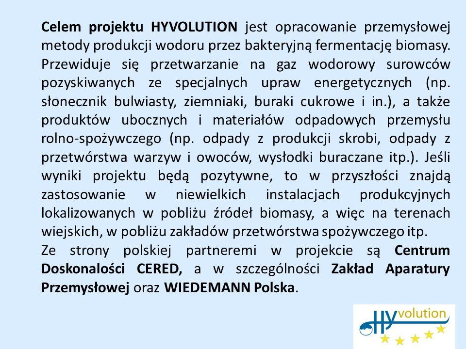 Celem projektu HYVOLUTION jest opracowanie przemysłowej metody produkcji wodoru przez bakteryjną fermentację biomasy. Przewiduje się przetwarzanie na