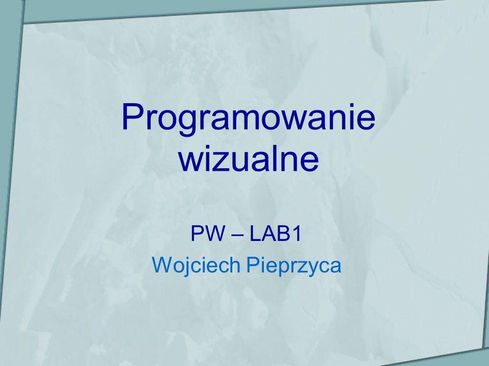 Właściwości formularza (III) Menu – określa obiekt typu MainMenu dla formularza, PopupMenu – określa obiekt typu PopupMenu dla formularza, Name – nazwa formularza, Visible – właściwość dwustanowa (true/false) określająca czy formularz jest widoczny, WindowState – określa stan okna po uruchomieniu programu: –wsMaximized - okno zmaksymalizowane, –wsMinimized - okno zminimalizowane, –wsNormal – postać okna taka jak w procesie projektowania formularza.