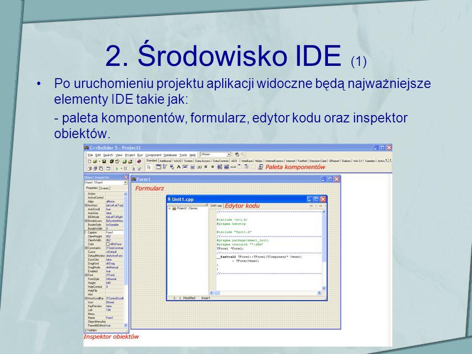 Środowisko IDE (2) Paleta komponentów – zawiera komponenty zgrupowane logicznie w grupy na poszczególnych zakładkach (np.