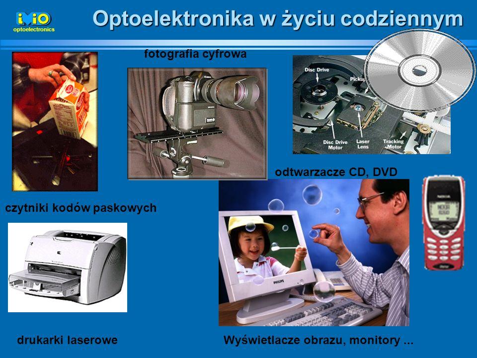 Optoelektronika w życiu codziennym czytniki kodów paskowych drukarki laserowe odtwarzacze CD, DVD Wyświetlacze obrazu, monitory... fotografia cyfrowa