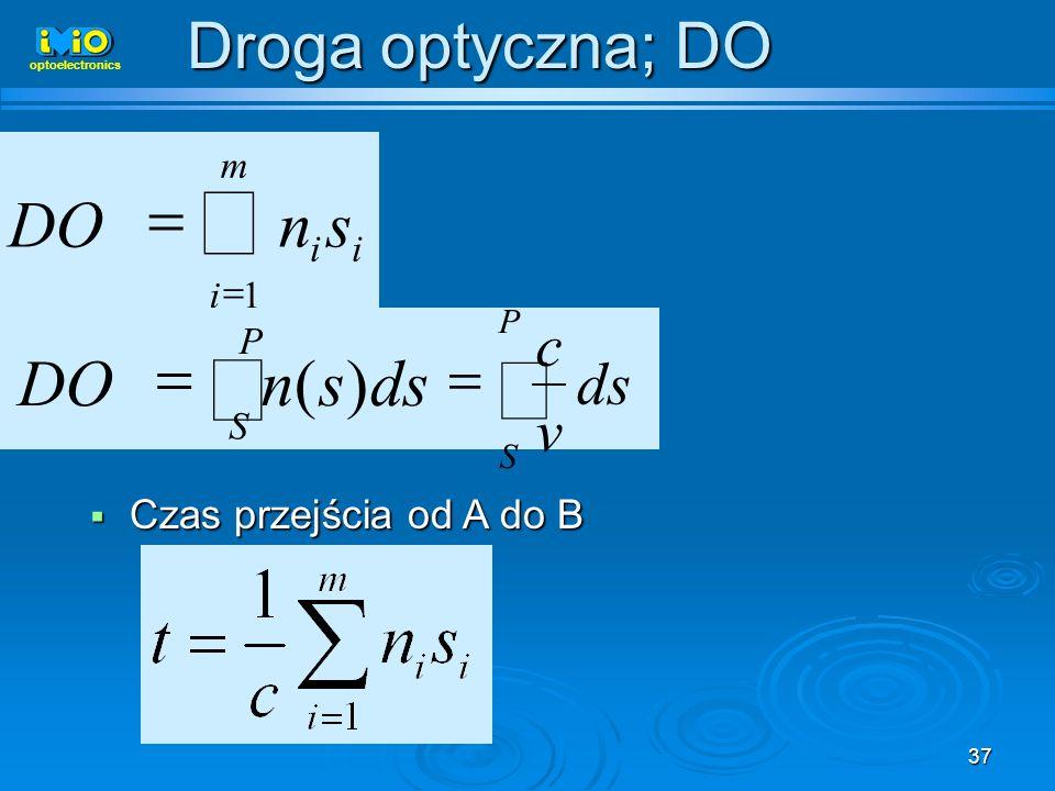37 Droga optyczna; DO Czas przejścia od A do B Czas przejścia od A do B m i ii snDO 1 P S dssnDO)( P S ds v c optoelectronics
