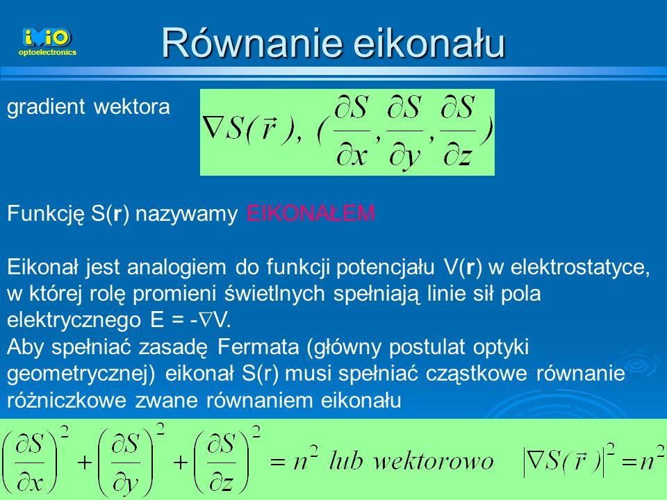 50 Równanie eikonału optoelectronics gradient wektora Funkcję S(r) nazywamy EIKONAŁEM Eikonał jest analogiem do funkcji potencjału V(r) w elektrostaty