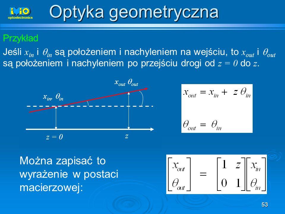 53 Przykład Jeśli x in i in są położeniem i nachyleniem na wejściu, to x out i out są położeniem i nachyleniem po przejściu drogi od z = 0 do z. x in,