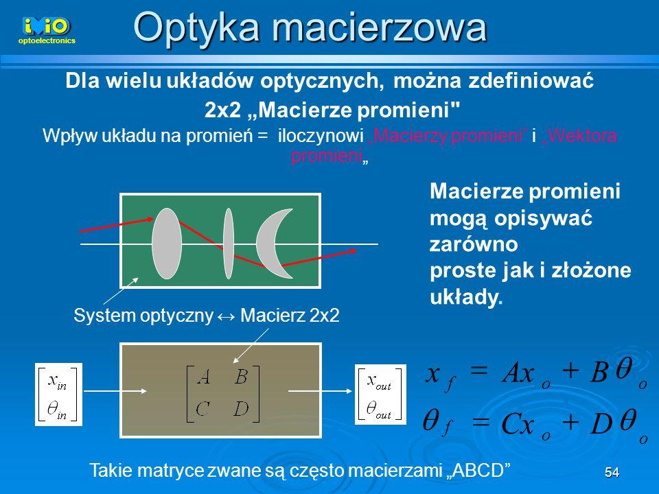 54 Dla wielu układów optycznych, można zdefiniować 2x2 Macierze promieni