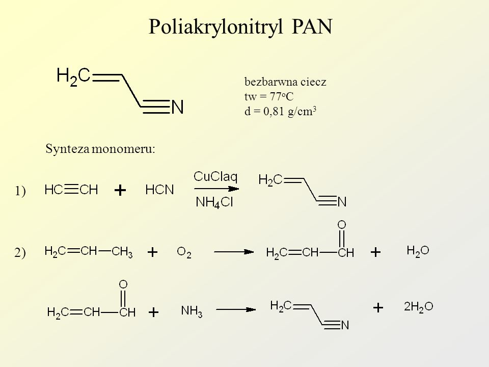 Poliakrylonitryl PAN bezbarwna ciecz tw = 77 o C d = 0,81 g/cm 3 Synteza monomeru: 1) 2)