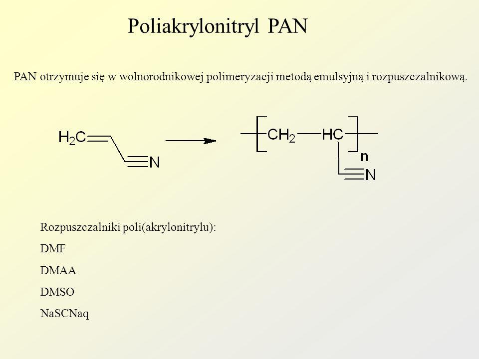 Poliakrylonitryl PAN PAN otrzymuje się w wolnorodnikowej polimeryzacji metodą emulsyjną i rozpuszczalnikową. Rozpuszczalniki poli(akrylonitrylu): DMF