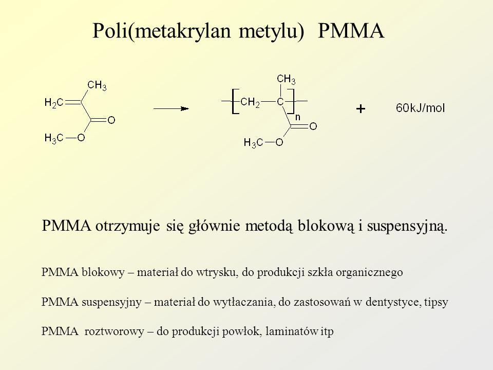 Poli(metakrylan metylu) PMMA PMMA otrzymuje się głównie metodą blokową i suspensyjną. PMMA blokowy – materiał do wtrysku, do produkcji szkła organiczn