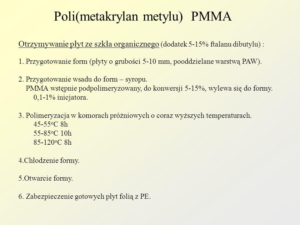 Poli(metakrylan metylu) PMMA Schemat produkcji płyt z PMMA 1 23 4 5 67 8 9 10 1-aparat do rozpuszczania, 2-urządzenie do rozdrabniania odpadowego PMMA, 3-komora, 4-zbiornik do rozdrobnionego PMMA, 5-dozownik wagowy inicjatora, 6-dozownik monomeru, 7-dozownik zmiękczacza, 8-zbiornik próżniowy, 9-formy, 10-komory polimeryzacyjne