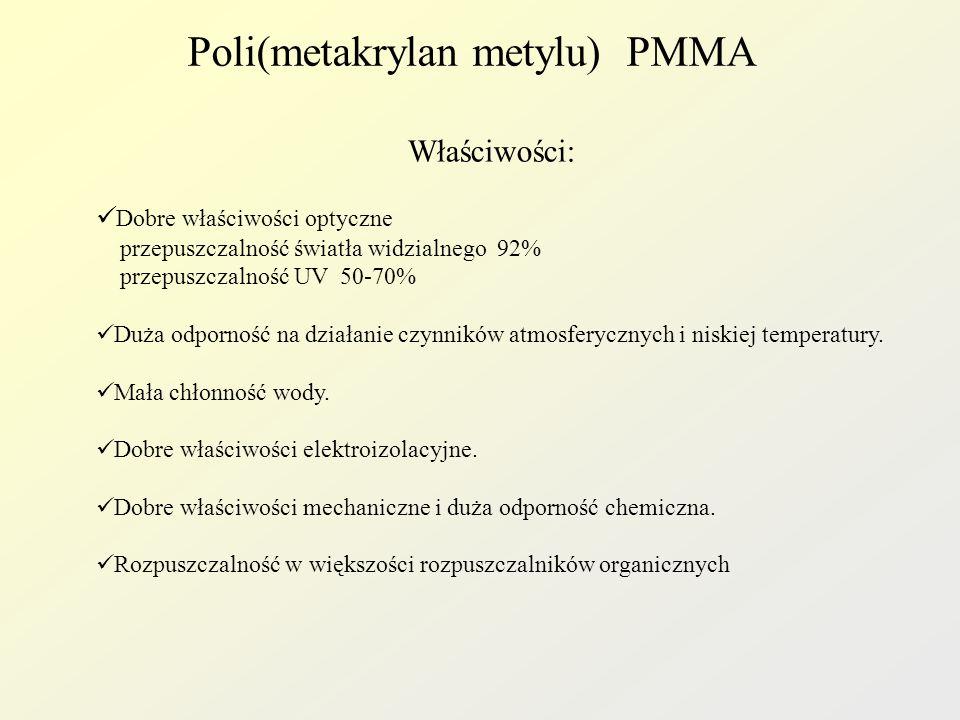 Poli(metakrylan metylu) PMMA Właściwości: Dobre właściwości optyczne przepuszczalność światła widzialnego 92% przepuszczalność UV 50-70% Duża odpornoś