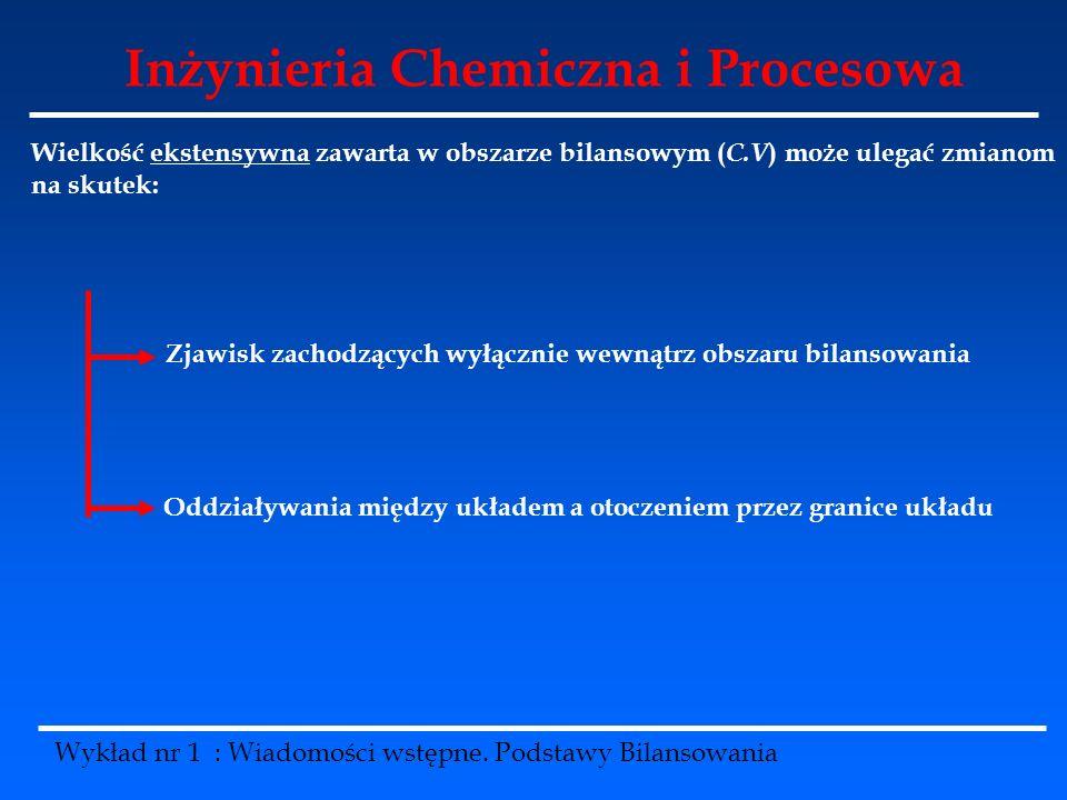 Inżynieria Chemiczna i Procesowa Wykład nr 1 : Wiadomości wstępne. Podstawy Bilansowania Wielkość ekstensywna zawarta w obszarze bilansowym ( C.V ) mo