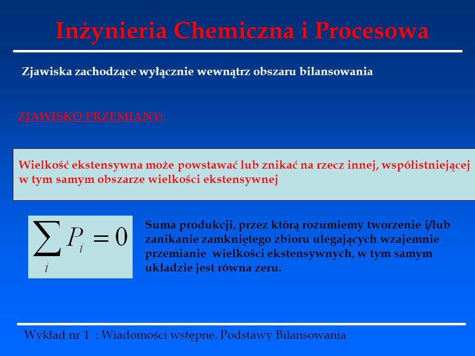 Inżynieria Chemiczna i Procesowa Wykład nr 1 : Wiadomości wstępne. Podstawy Bilansowania Zjawiska zachodzące wyłącznie wewnątrz obszaru bilansowania W
