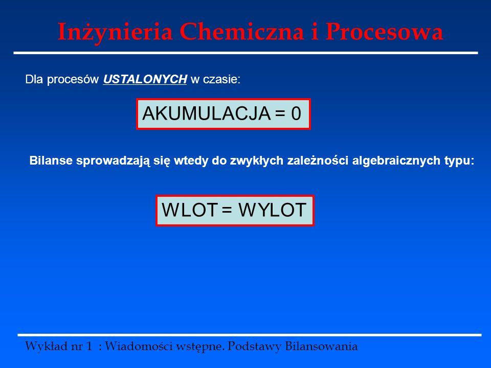 Inżynieria Chemiczna i Procesowa Wykład nr 1 : Wiadomości wstępne. Podstawy Bilansowania Dla procesów USTALONYCH w czasie: AKUMULACJA = 0 Bilanse spro